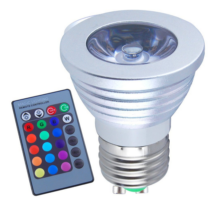 100-240V 3W E27 16 Multi Color LED Bulb