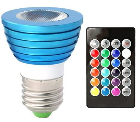 3 Watt Color-Changing LED Light Bulb with Remote