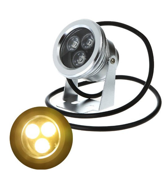 9W 12V Warm White LED Underwater Spotlight