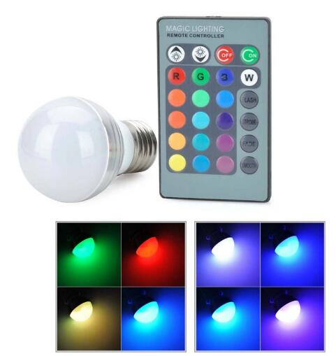 E27 3W RGB LED Bulb Light with Remote Controller