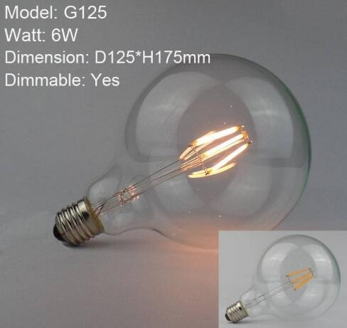 E27 6W COB Dimmable LED Filament Bulb