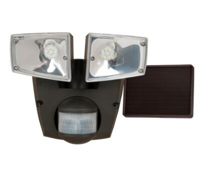 Pro 180-Degree 2-Head Black Solar Powered LED Flood Light