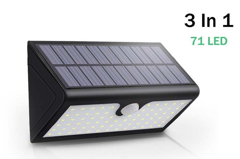 Security Wireless Motion Sensor Solar Light 3 Modes IP65 LED Wall Lamp