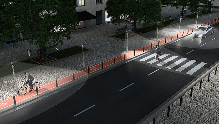 Inductive LED street lights can be automatically adjusted by radar detection