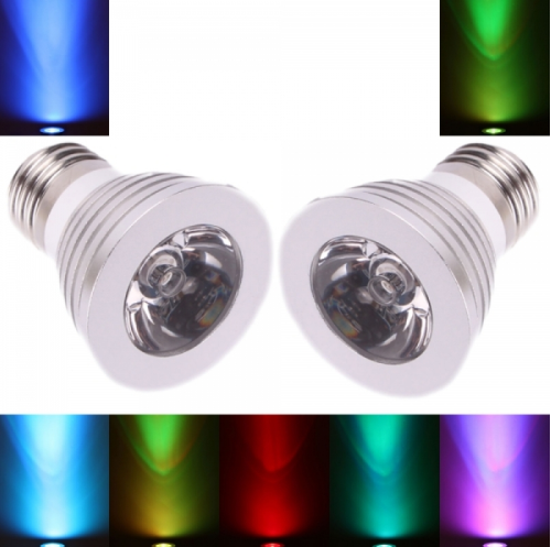2Pcs E27 3W 16 Color Changing Dimmable LED Spot light