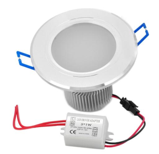 3W 6000K 270LM LED Downlight with Adapter Silver