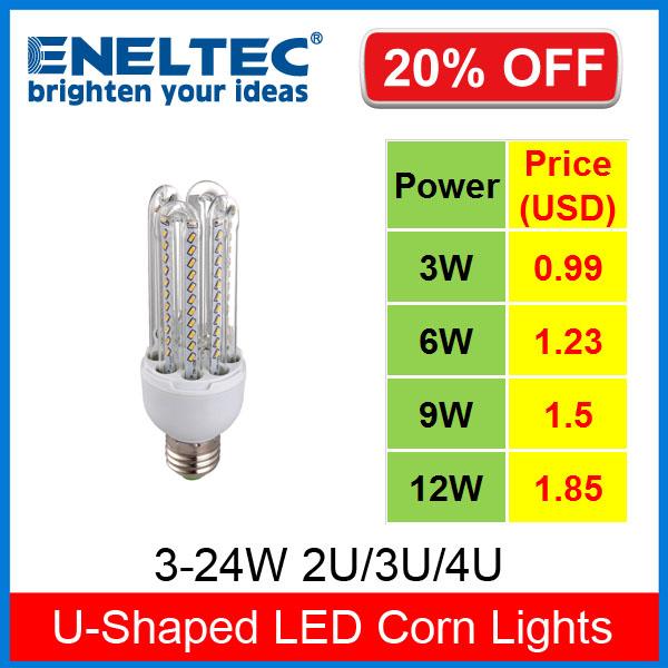 3-24W  Eneltec U-Shaped LED Corn Light  LED Energy Saving Lamp