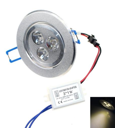 Silver 3W 2800-3500K LED Downlight